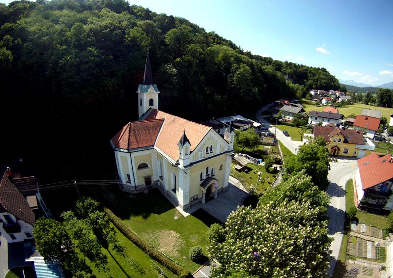 Cerkev v Trzinu iz zraka (foto: Helivideo.si))